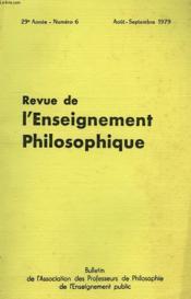 REVUE DE L'ENSEIGNEMENT PHILOSOPHIQUE, 29e ANNEE, N° 6, AOUT-SEPT. 1979 - Couverture - Format classique