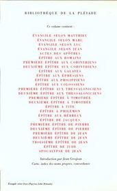 La Bible ; nouveau testament - 4ème de couverture - Format classique