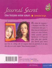 Journal secret t9 - une histoire entre soeurs - 4ème de couverture - Format classique