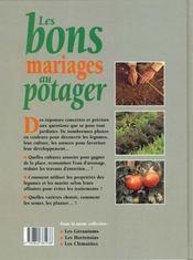 Jardinez Pratique ; Les Bons Mariages Au Potager - 4ème de couverture - Format classique