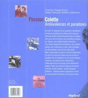 Passion Colette ; ambivalences et paradoxes - 4ème de couverture - Format classique