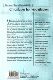 Chroniques homéopathiques ; quelques principes et digressions - 4ème de couverture - Format classique