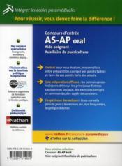 Concours AS-AP oral ; aide-soignant, auxiliaire de puériculture - 4ème de couverture - Format classique