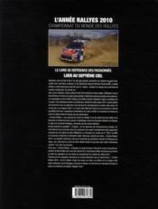 L'année rallyes (édition 2010) - 4ème de couverture - Format classique