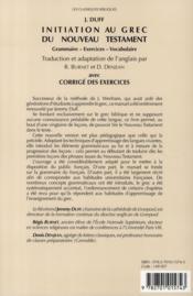 Initiation au grec du nouveau testament ; grammaire, exercices, vocabulaire - 4ème de couverture - Format classique