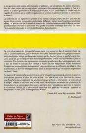 Leçons de linguistique de Gustave Guillaume 1941-1942 t.20 ; symétrie et dissymétrie dans le système grammatical du français - 4ème de couverture - Format classique