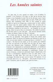 Les Annees Saintes - 4ème de couverture - Format classique