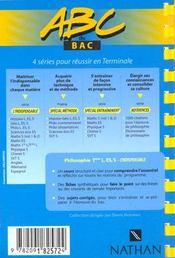 Abc Du Bac T.10 ; Philosophie ; Terminale L/Es/S ; Cours, Sujets Corrigés, Notions - 4ème de couverture - Format classique