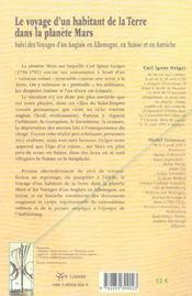 Le voyage d'un habitant de la terre dans la planete mars ; voyages d'un anglais en allemagne, en suisse et en autriche - 4ème de couverture - Format classique
