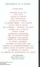 Oeuvres autobiographiques (tome 2-histoire de ma vie (1822-1832) - lettres d'un voyageur - un hiver - 4ème de couverture - Format classique