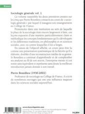 Sociologie générale t.1 ; cours au Collège de France (1981-1983) - 4ème de couverture - Format classique