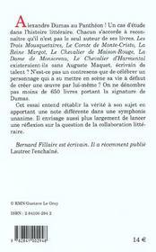 Alexandre dumas et associes - 4ème de couverture - Format classique