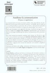 Ameliorer la communication 50 jeux et experiences - 4ème de couverture - Format classique