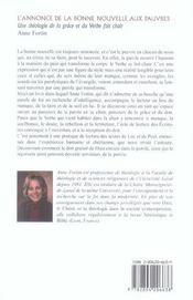 Annonce De La Bonne Nouvelle Aux Pauvres (L') - 4ème de couverture - Format classique
