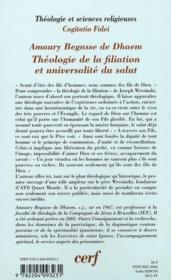 Théologie de la filiation et universalité du salut - 4ème de couverture - Format classique