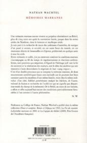 Mémoires marranes - 4ème de couverture - Format classique