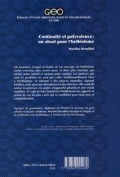 Continuité et polyvalence : un atout pour l'hellénisme - 4ème de couverture - Format classique