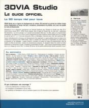 3dvia studio ; le guide officiel ; la 3d en temps réel - 4ème de couverture - Format classique