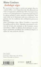 Anthologie nègre - 4ème de couverture - Format classique