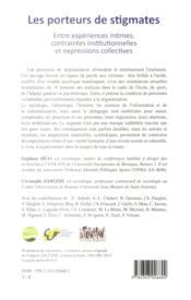 Porteurs de stigmates ; entre expériences intimes, contraintes institutionnelles et expressions collectives - 4ème de couverture - Format classique