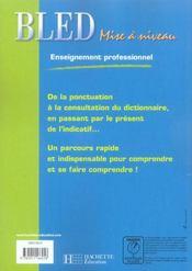 Mise à niveau ; enseignement professionnel ; livre de l'élève (édition 2005) - 4ème de couverture - Format classique