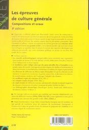Les épreuves de culture générale ; compositions et oraux - 4ème de couverture - Format classique