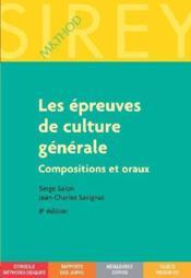Les épreuves de culture générale ; compositions et oraux - Couverture - Format classique