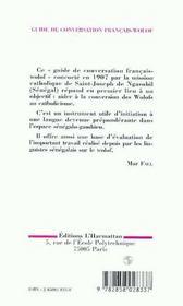 Guide De Conversation Francais-Wolof - 4ème de couverture - Format classique