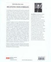 Introduction Aux Relations Industrielles - 4ème de couverture - Format classique