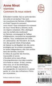 Islamistes : comment ils nous voient - 4ème de couverture - Format classique