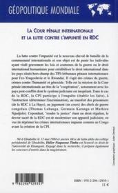 La cour pénale internationale et la lutte contre l'impunité en RDC - 4ème de couverture - Format classique