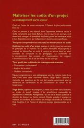 Maitriser les coûts d'un projet. le management par la valeur (3e édition) - 4ème de couverture - Format classique