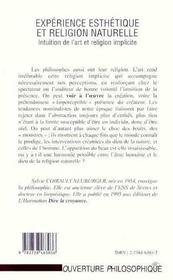 Experience Esthetique Et Religion Naturelle ; Intuition De L'Art Et Religion Implicite - 4ème de couverture - Format classique