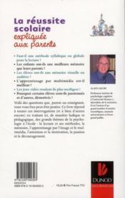 La réussite scolaire expliquée aux parents - 4ème de couverture - Format classique