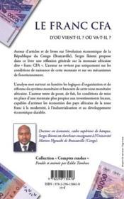 Le franc CFA ; d'ou vient-il ? où va-t-il ? - 4ème de couverture - Format classique