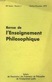 REVUE DE L'ENSEIGNEMENT PHILOSOPHIQUE, 30e ANNEE, N° 1, OCT.-NOV. 1979 - Couverture - Format classique