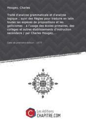 Traité d'analyse grammaticale et d'analyse logique [édition 1875] - Couverture - Format classique