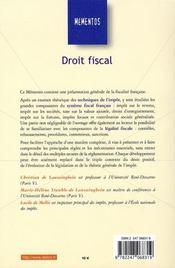 Droit Fiscal - 4ème de couverture - Format classique