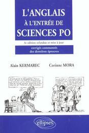 L'Anglais A L'Entree De Sciences Po 3e Edition Refondue Et Mise A Jour Corriges Commentes Des Dernie - Intérieur - Format classique