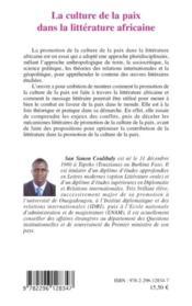 La culture de la paix dans la littérature africaine - 4ème de couverture - Format classique