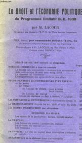 Le Droit Et L'Economie Politique Du Programme Limtatif B.R. 1938 - Couverture - Format classique