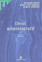 Droit Administratif ; 8e Edition - Intérieur - Format classique