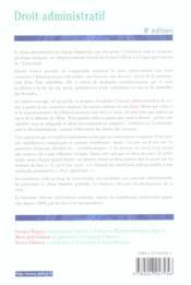 Droit Administratif ; 8e Edition - 4ème de couverture - Format classique