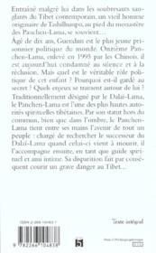 Panchen Lama Guendun L'Enfant Oublie Du Tibet - 4ème de couverture - Format classique