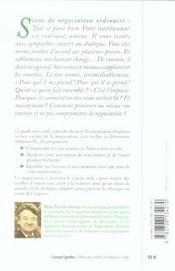 La face cachee de la negociation - psychologie des relations difficiles - 4ème de couverture - Format classique