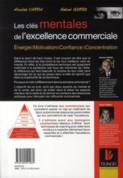Les clés mentales de l'excellence commerciale - 4ème de couverture - Format classique