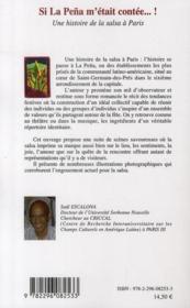 Si la peña m'était contée... une histoire de la salsa à Paris - 4ème de couverture - Format classique