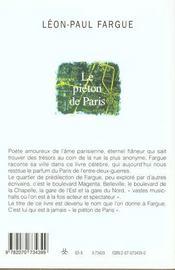 Le Pieton De Paris / D'Apres Paris - 4ème de couverture - Format classique