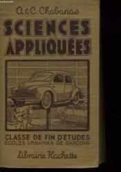 Sciences Appliquees. Classe De Fin D'Etudes, Ecoles Urbaines De Garcons - Couverture - Format classique