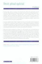 Droit Penal Special ; 9e Edition - 4ème de couverture - Format classique